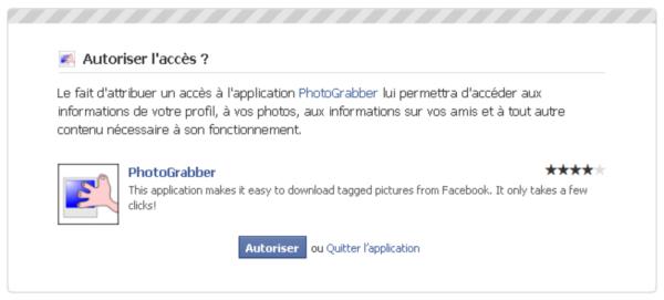 Demande d'autorisation d'accès au compte Facebook