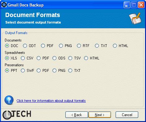 Gmail Docs Backup : Choix des formats d'export