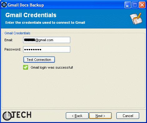 Login sur Gmail Docs Backup