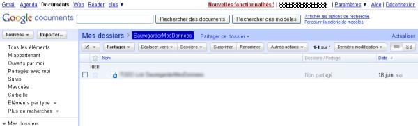 Vos documents Google Docs à sauvegarder