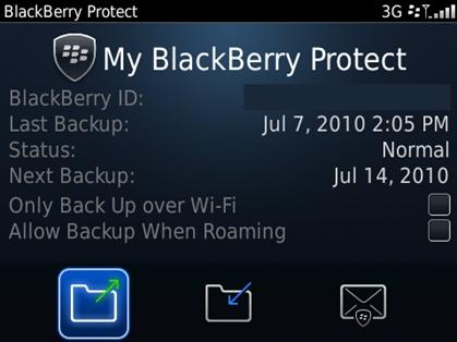 Interface d'accueil de l'application BlackBerry Protect
