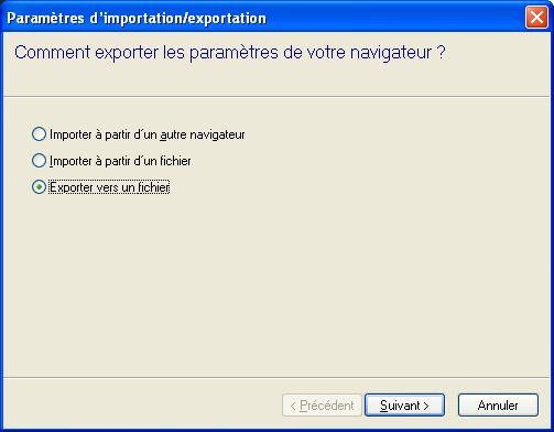 """Sélectionnez le choix """"Exporter vers un fichier"""""""
