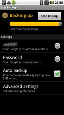 SMS Backup en pleine sauvegarde de mes SMS