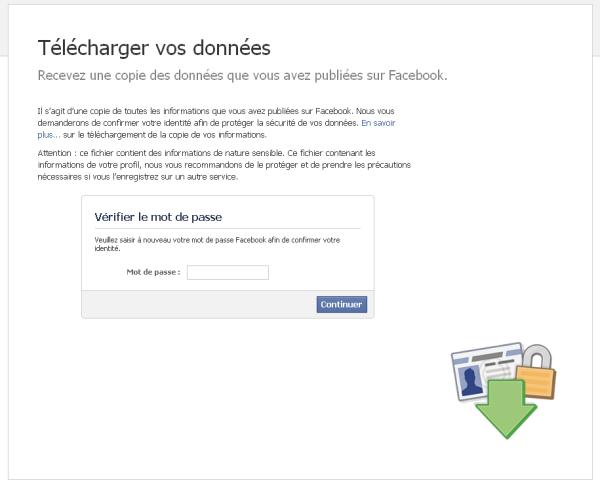 Confirmer son mot de passe avant récupération de la sauvegarde Facebook