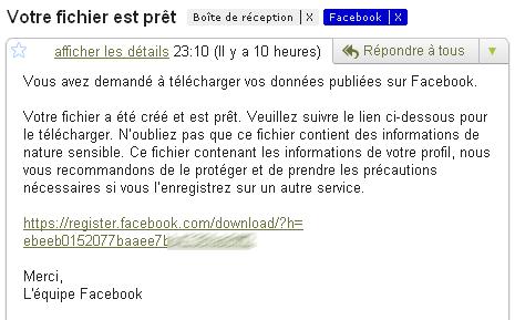 Mail de Facebook informant que le fichier de sauvegarde est prêt
