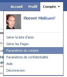 Menu d'accès au compte Facebook