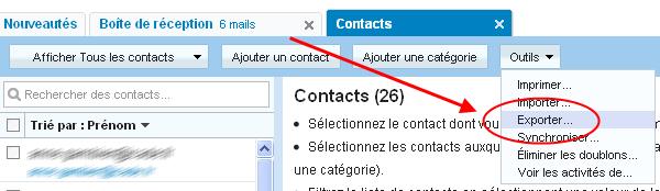 Choisir Exporter dans le menu contacts de Yahoo mail