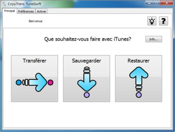 L'interface de CopyTrans TuneSwift et ses 3 fonctionnalités
